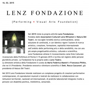 LENZ FONDAZIONE | Progetto 2015
