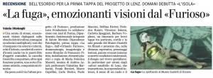 Il Furioso-La Fuga 1 recensione. Gazzetta di Parma